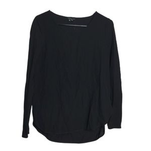 Theory Black Long Sleeve Top Blouse Size Small